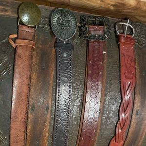 4 leather belts  size large